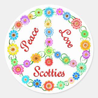 Escoceses del amor de la paz pegatina redonda
