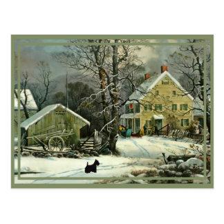 Escoceses en el invierno, hogar para los días de f tarjetas postales
