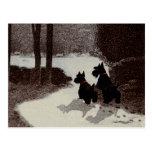 Escoceses en noche surrealista del invierno tarjetas postales