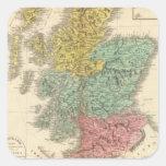 Escocia 18 pegatina cuadrada