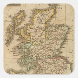 Escocia 4 pegatina cuadrada