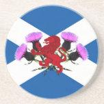 Escocia, cardo de la flor, león desenfrenado posavasos para bebidas