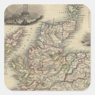 Escocia con el mapa de inserción de las Islas Pegatina Cuadrada