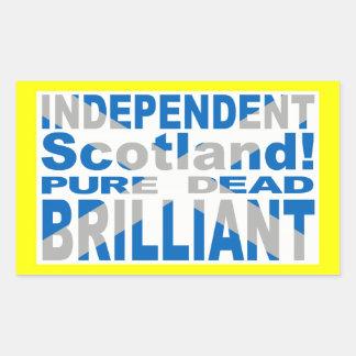 Escocia independiente pura, muerto, brillante pegatina rectangular