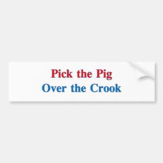 Escoja el cerdo sobre el ladrón pegatina para auto