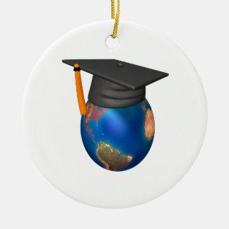 Escolar del mundo adorno navideño redondo de cerámica