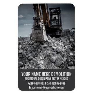 Escombros y equipo de la demolición imán