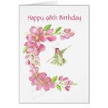 Esconda la 98.a flor de cerezo y el colibrí del cu felicitación