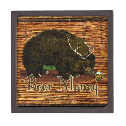 Escondite del oso del dinero de la cerveza cajas de recuerdo de calidad