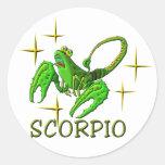 Escorpión 3 (estrellas) etiqueta redonda