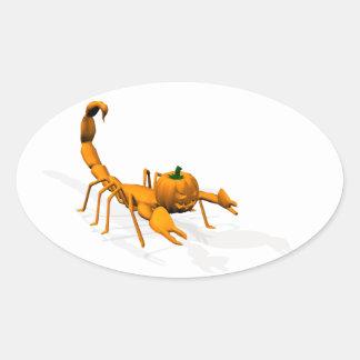 Escorpión anaranjado pegatina ovalada