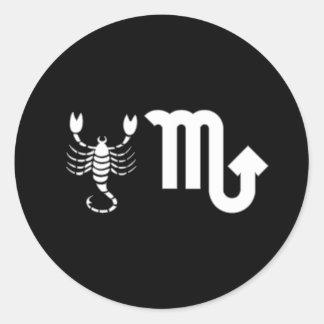 Escorpión con símbolo etiqueta redonda