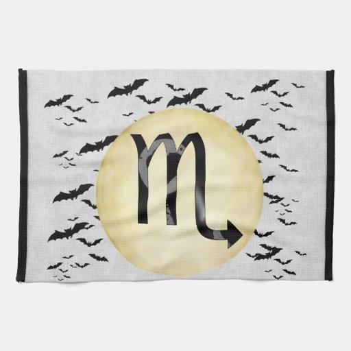 Escorpión de la luna del palo toallas de mano