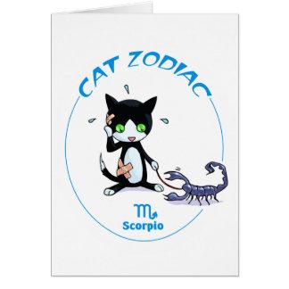 Escorpión de los gatos del zodiaco tarjeta pequeña