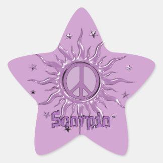 Escorpión de Sun de la paz Pegatina En Forma De Estrella