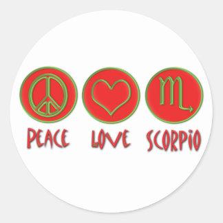 Escorpión del amor de la paz pegatina redonda