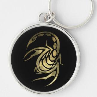 Escorpión del escorpión del oro llavero redondo plateado
