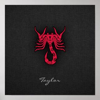 Escorpión del rojo carmesí impresiones
