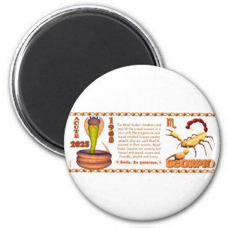 Escorpión del zodiaco de la serpiente de madera 20 imán para frigorifico