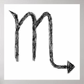 Escorpión. Muestra de la astrología del zodiaco Posters