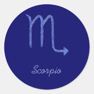 Escorpión. Muestra de la astrología del zodiaco. Pegatina Redonda