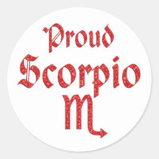 Escorpión orgulloso pegatina redonda