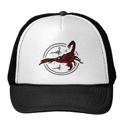 Escorpión rojo gorras de camionero