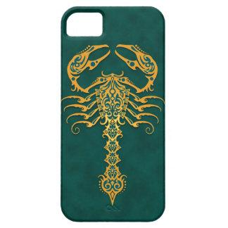Escorpión tribal azul de oro iPhone 5 funda