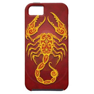 Escorpión tribal rojo de oro complejo iPhone 5 carcasas