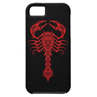Escorpión tribal rojo y negro iPhone 5 funda