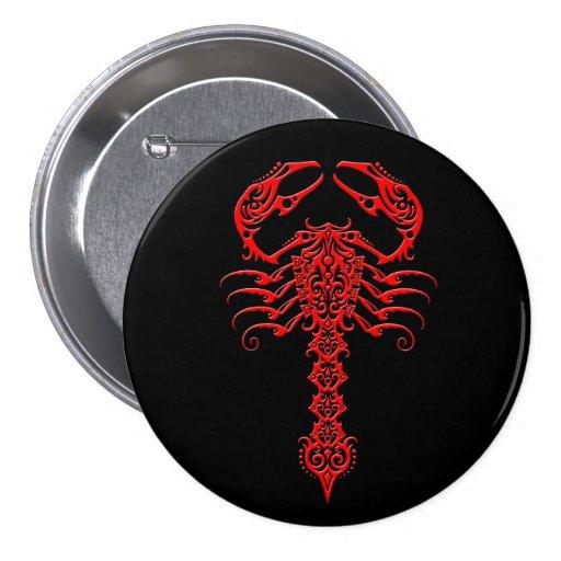 Escorpión tribal rojo y negro pin