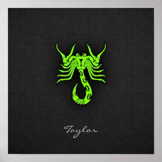 Escorpión verde chartreuse, de neón posters