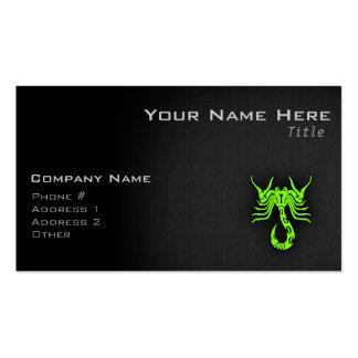 Escorpión verde chartreuse, de neón plantilla de tarjeta personal