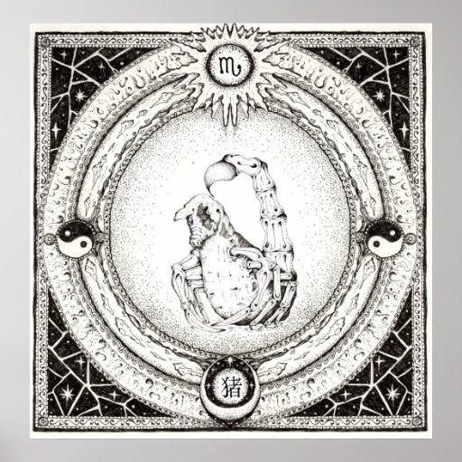 Escorpión y el año del cerdo impresiones