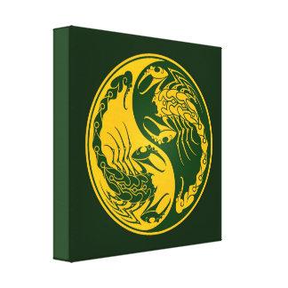 Escorpiones amarillos y verdes de Yin Yang Impresión De Lienzo