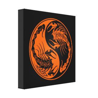 Escorpiones anaranjados y negros de Yin Yang Lona Envuelta Para Galerias