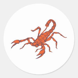 Escorpiones del escorpión del insecto del ~ del pegatina redonda