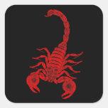 Escorpiones del rojo del ejemplo del escorpión de colcomanias cuadradas