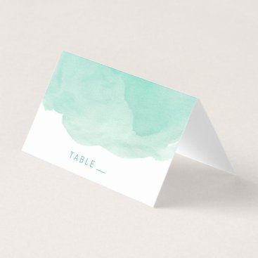 Beach Themed Escort Place Card | Mint Watercolor Background