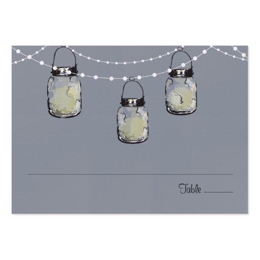 Escort Seating Card Mason Jar String of Lights Business Cards