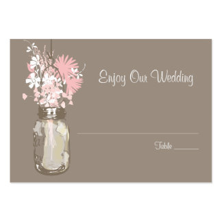 Escort Seating Card Wild Flowers & Mason Jar Large Business Cards (Pack Of 100)