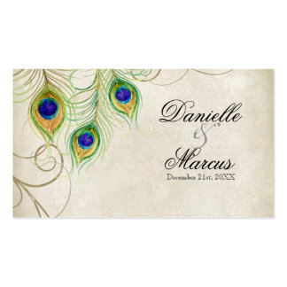 Escort Table Cards - Peacock Feathers Wedding Set Business Card Templates