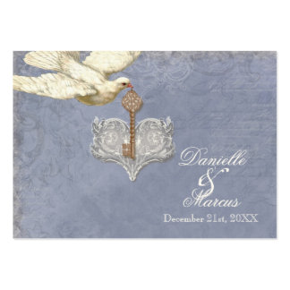 Escort Table Seating Card, Key to my Heart, Doves Large Business Card