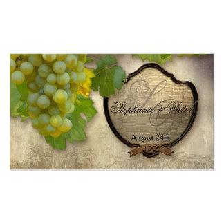 Escort Table Seating Formal Reception Vineyard Business Card