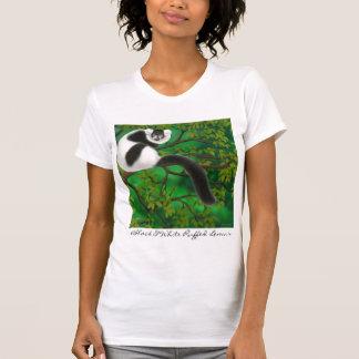 Escote redondo superado blanco y negro del Lemur Camisetas