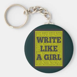 Escriba como un carbón de leña del chica llavero personalizado