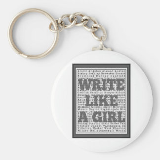 Escriba como un gris del chica llavero personalizado