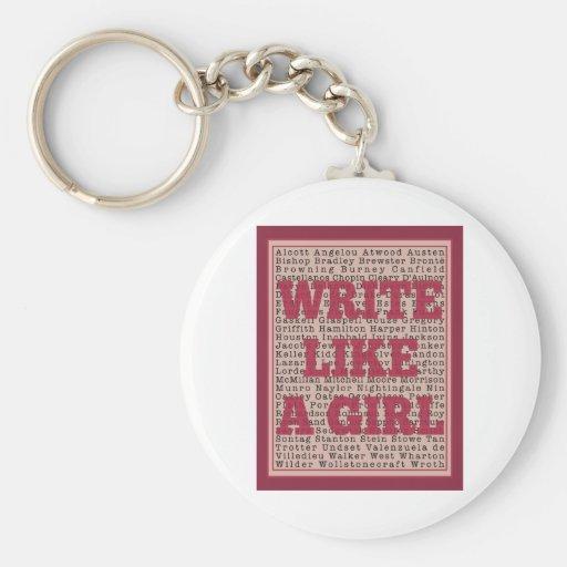 Escriba como un lápiz labial del chica llavero redondo tipo pin