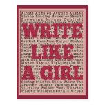 Escriba como un lápiz labial del chica postal