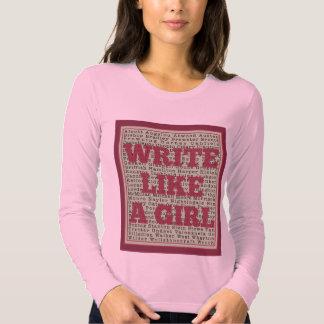 Escriba como un lápiz labial del chica remeras